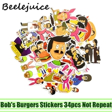 34pcs Bobs Burgers Stickers paster Cartoon characters anime funny decals scrapbooking diy phone laptop waterproof decorations