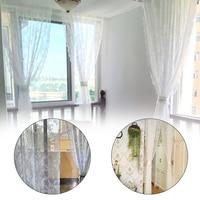 Pastoral Lace Pure white Curtain Living Room Gauze Warp Wide Straight Bottom Mesh Belt Canopy Netting Drape Panel Leaf Door