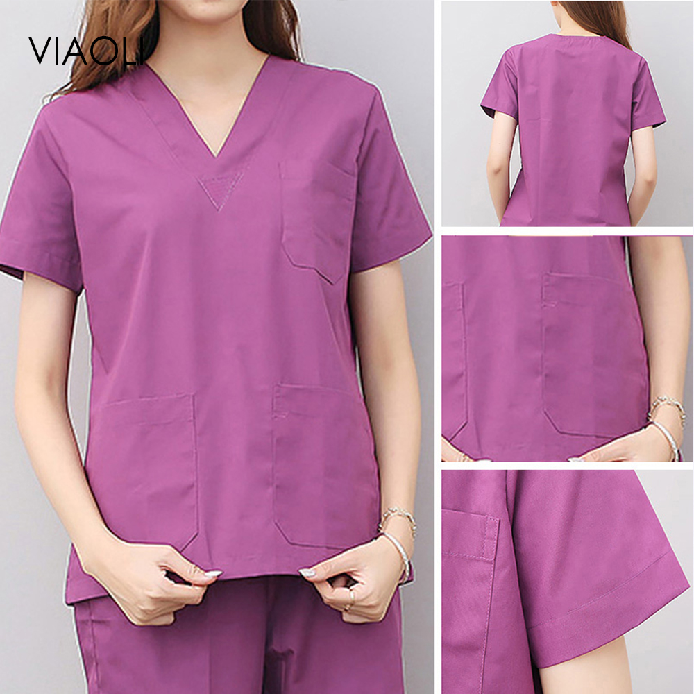 Solid Color Medical Costumes Nurse Uniform V-neck Clinical Uniforms Woman Lab Surgical Suit Medical Uniforms Man Surgical Top