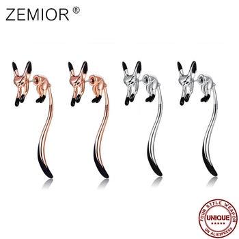 ZEMIOR Drop Earrings For Women Cute Little Fox Rose Gold Color Earrings Black Enamel Animal Hyperbole Tai Fashion Jewelry Best 1