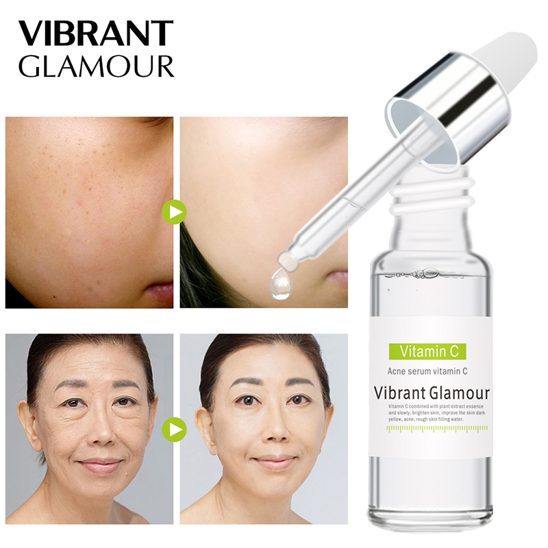 VIBRANT GLAMOUR Vitamin C Facial Serum Anti Wrinkle Remove Dark Spots Collagen Face Serum Anti Aging Essence Whitening