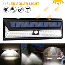 118 LED Solar Light PIR Motion Sensor Outdoor 3 Modes Solar Wall Lamp IP65 Waterproof Energy Saving Security Garden Yard Lights(China)