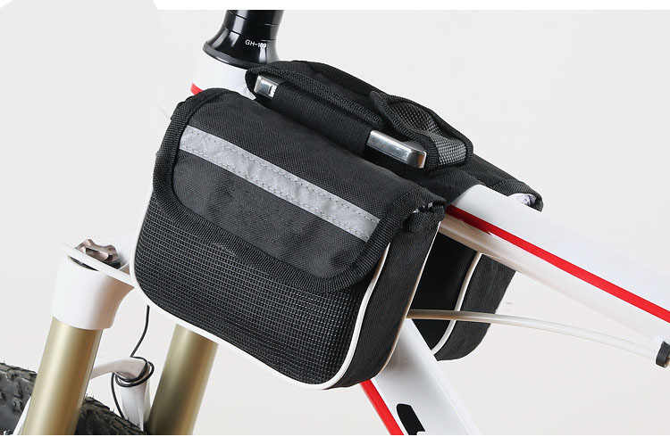 Bike Bags Bicycle Frame Front Tube Bag rainproof Mountain Bike two side Pouch Cycling Phone Holder Saddle Bag