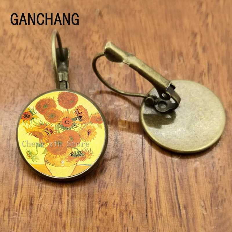 Van Gogh Almond Stud Anting-Anting Cabang Mekar Seni Anting-Anting Perhiasan Pengantin Van Gogh Lukisan Kaca Cabochon Anting-Anting
