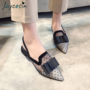 JAYCOSIN Fashion Women Flats Summer Autumn Beach Shoes Pointed Toe Mesh Breathable Flat Heel Beach Sand Shoes Hollow Out Sandals(China)