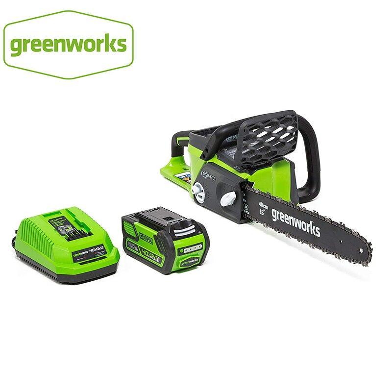 Новая бензиновая бензопила Greenworks 40 в 20312 Ач, бесщеточная бензопила, с аккумулятором Ач и зарядным устройством,