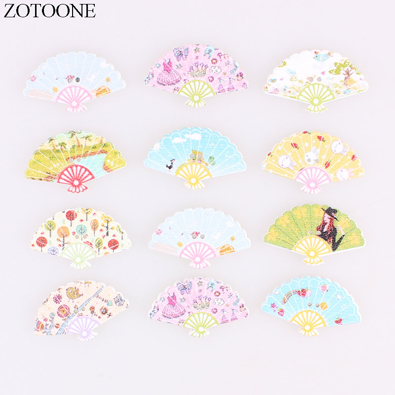 ZOTOONE Cute Folding Fan Wooden Buttons 50PCS Noel Accessories Scrapbooking for Coat DIY Craft Decoration Colorful Button E in Buttons from Home Garden