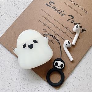 Image 4 - 세련 된 귀여운 3D 유령 실리콘 블루투스 무선 이어폰 케이스 에어팟 1 2 보호 커버 해골 패턴 손가락 반지
