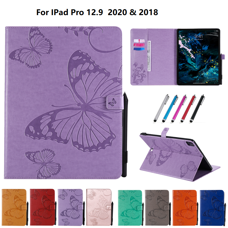 Butterfly Tablet Fundas For iPad Pro 12 9 Case 2020 2018 Folding Folio Embossed Cover For