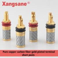 4pcs/set Xangsane carbon fiber pure copper HiFi terminal posts fever copper speaker amplifier speaker terminal posts Short posts