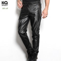 High Quality Mens Genuine Leather Full Length Trousers Fashion Drawstring Waist Motorcycle Sheepskin Slim Fit Windproof Pants