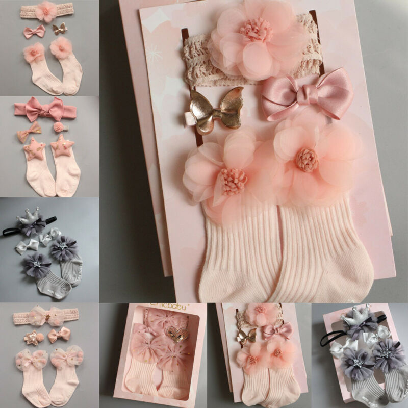 Fashion Toddler Newborn Baby Socks+Headband Set Newborn Baby Gift Kids Girls Ankle Socks Hair Band Set Floral Headband Hairbands