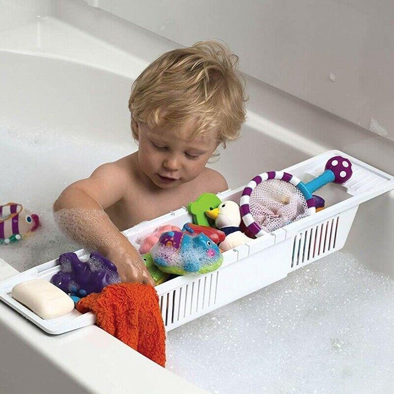 Bathtub Caddy Tray Plastic Bathtub Basket Shelf Rack Bath Toys Organizer Retractable Storage Rack Shower Organizer TUE88