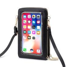 Monedero para teléfono móvil con pantalla táctil para mujer, cartera para teléfono inteligente, bandolera tipo mensajero de cuero PU, Mini bolso cruzado