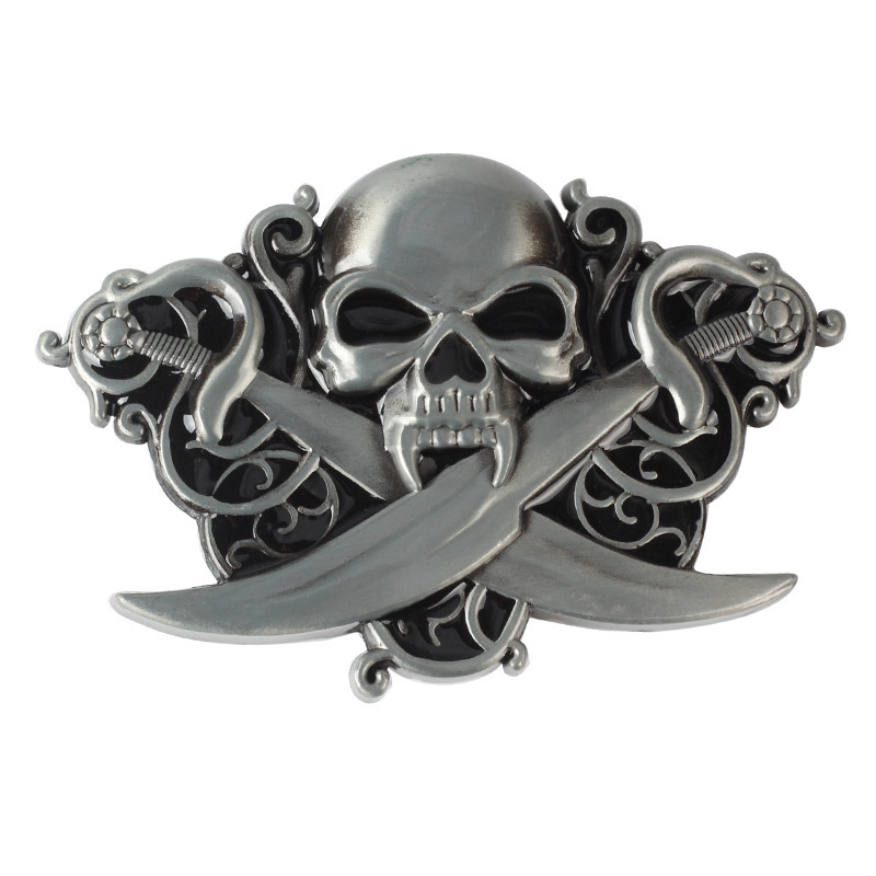 Skull Skeleton Belt Buckle Belt DIY Accessories Western Cowboy Style Smooth Belt Buckle Punk Rock Style K22