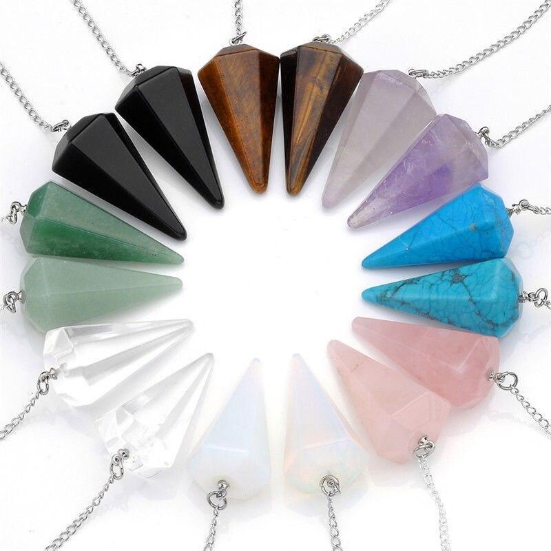 Pierres naturelles hexagonal pointu Reiki Chakra Guérison Pendentif Colliers Perles