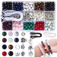 418 stücke Stein Perlen Kits 8mm Lose Perlen Edelstein Natürliche Lava Stein mit Zubehör DIY Schmuck Erkenntnisse Komponenten, Der