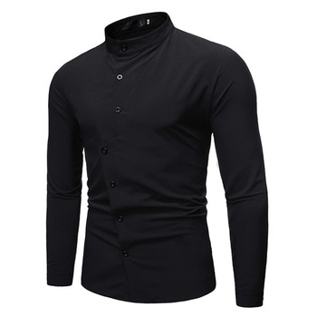 Solid Black Long Sleeve Fashion Shirt 1