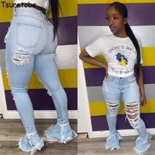 Tsuretobe porwane dżinsy dla kobiet wysokiej talii dżinsy Vintage jeansy rozkloszowane z otworami Patchwork Bell Bottom Jean spodnie dżinsowe spodnie tanie tanio Poliester Pełnej długości Osób w wieku 18-35 lat OSM-5314-WWRU WOMEN Streetwear Zmiękczania Wysoka Przycisk fly Tassel