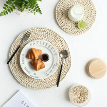 Corn Fur Woven Placemat Table Dining Table Mat Heat Insulation Pot Holder Round Coasters Coffee Drink Tea Cup Table Placemats natural hand woven straw placemat dining table mat heat insulation pot holder cup coaster kitchen accessories