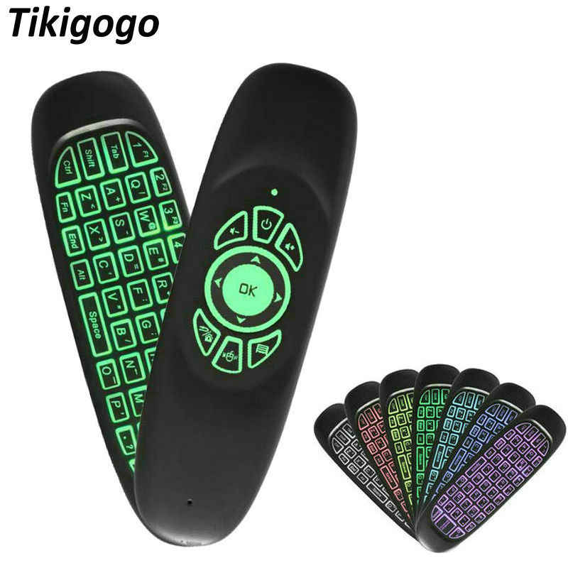 Tikigogo C120 Lampu Latar 7 Warna 2.4G Nirkabel Udara Mouse Mini Keyboard untuk Android Smart TV Box Komputer Windows Remote kontrol