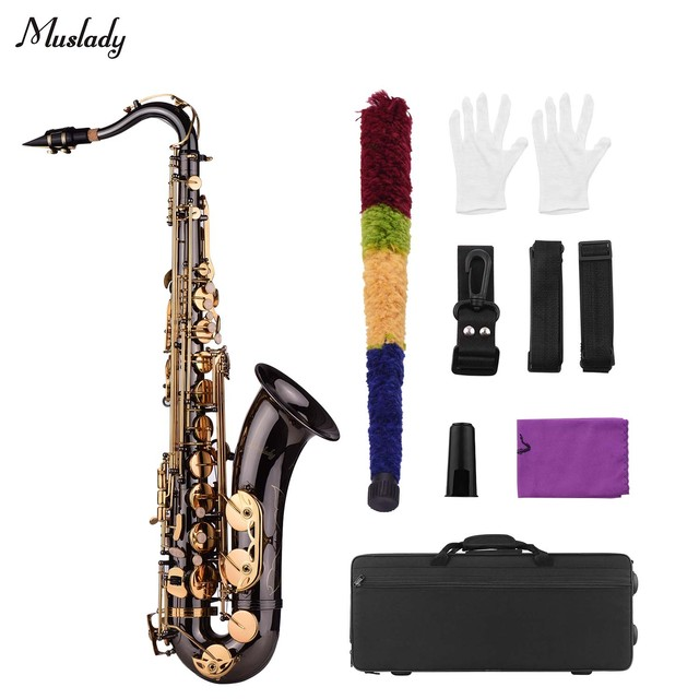 Muslady Bb Tenor Saxophone Sax Brass Body Black Nickle Plated Golden Keys Woodwind Instrument with Carry Case Gloves