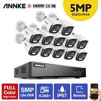 ANNKE-sistema de seguridad 4K Ultra HD, 16 canales, H.265 + DVR, 12 Uds., cámara de visión nocturna a todo Color de 5MP, Kit de cámara CCTV para exteriores IP67
