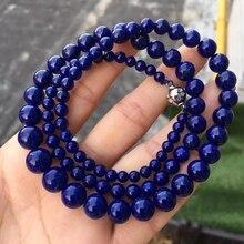 ธรรมชาติ Lapis Lazuli จี้รอบลูกปัดผู้หญิงผู้ชาย PARTY ของขวัญใหม่หิน Reiki สร้อยคอคริสตัล 4 10 มม. AAAAA