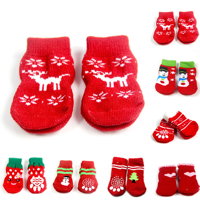 4pcs/set Winter Pet Dog Christmas Socks Anti-Slip Knit Socks Small Dogs Cat Shoes Chihuahua Warm Paw Protector Dog Socks Booties