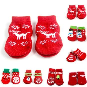 цена на 4pcs/set Winter Pet Dog Christmas Socks Anti-Slip Knit Socks Small Dogs Cat Shoes Chihuahua Warm Paw Protector Dog Socks Booties