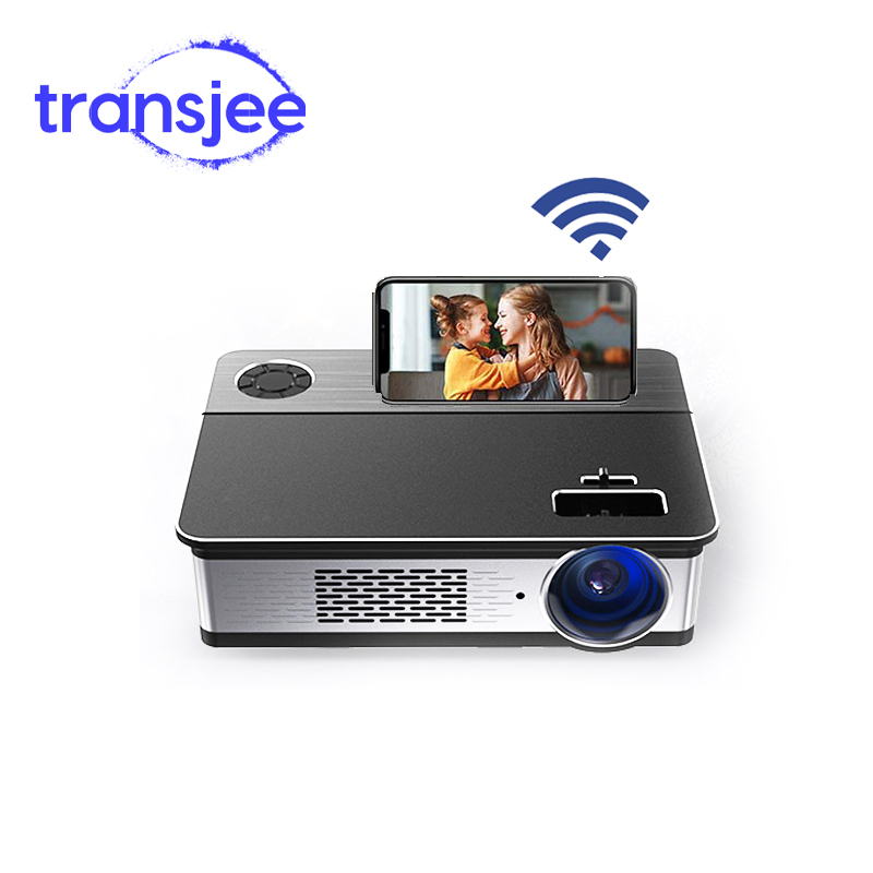 TRANSJEE Native 1080p Unterstützung 4K Projektor Full HD Film 3D Android LED Tragbare WIFI Projecor 1920x108 0 5800 lumen Bluetooth