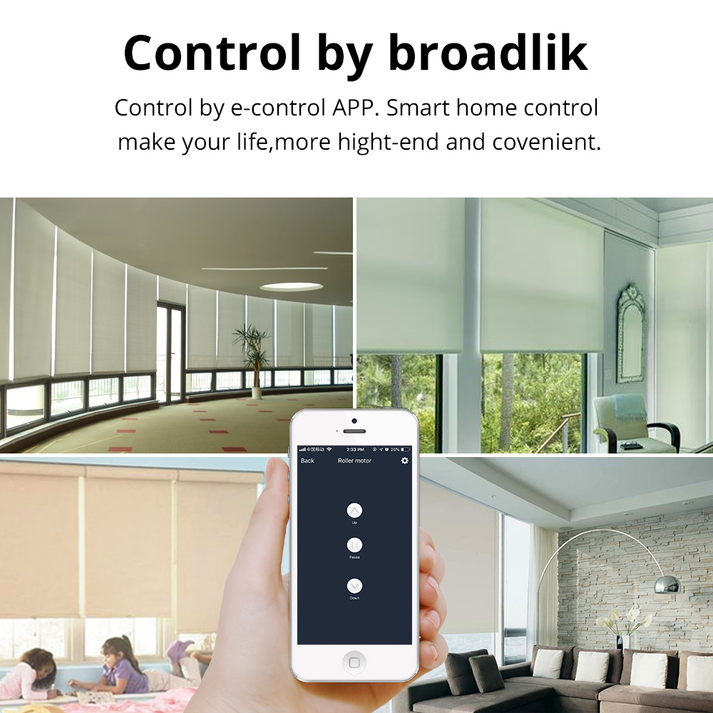 Smart Home Automatic AC Electric Roller shutters Curtains Motor RF433 Intelligent Lifting Work with Remote/ Boardlink /Geeklink