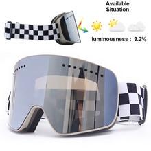Jiepolly Magnet Ski Goggle Winter Snow Sports Snowboard Glasses Anti-Fog UV Protection Snowmobile Spherical Skiing Eyewear FJ037