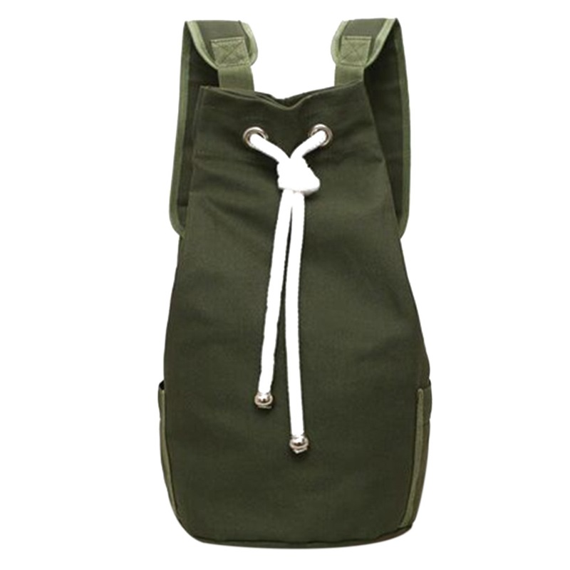 Casual Men Canvas Large Capacity Barrel Backpack Fashion Simple Travel Rucksack Pack Teenager School Bag(Army Green)