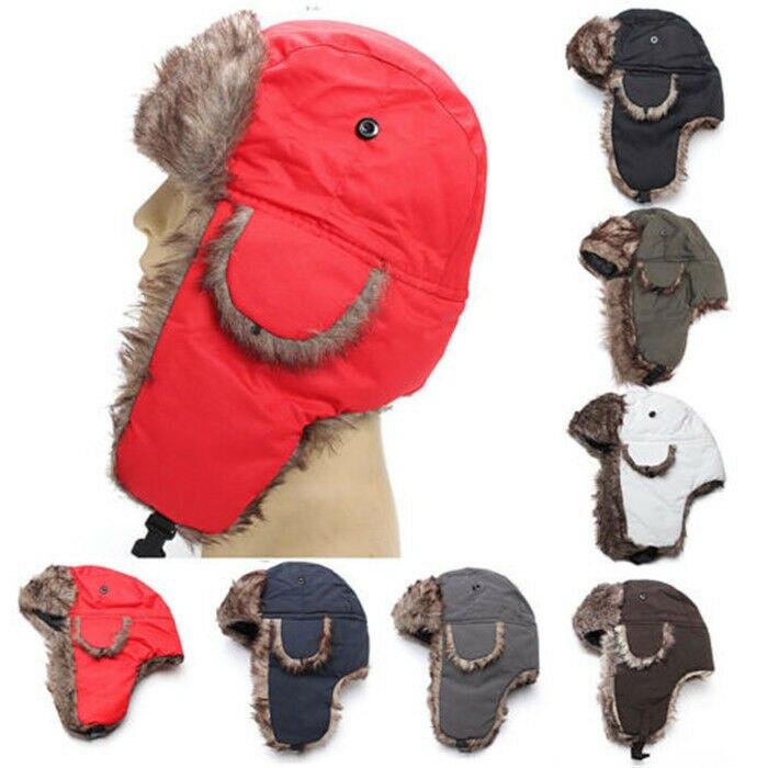 Brand 2019 New Unisex Trapper Bomber Warm Russian Trooper EAR FLAPS Winter Ski Hat Men Women Cap New Bomber Hats