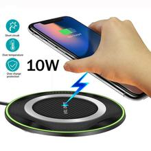 QI 10W Fast Wireless Charger PadสำหรับHuawei P30/Mate 20 Pro Samsung S10 สำหรับiPhoneไร้สายXSแท่นชาร์จแท่นวางDesktop