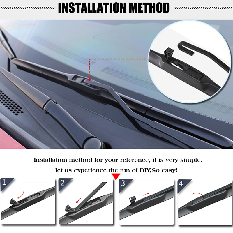 Windshield front wiper blade windscreen rear wiper car accessories for Mitsubishi Mirage Fit Hook Arms year from 2012 2017 in Windscreen Wipers from Automobiles Motorcycles