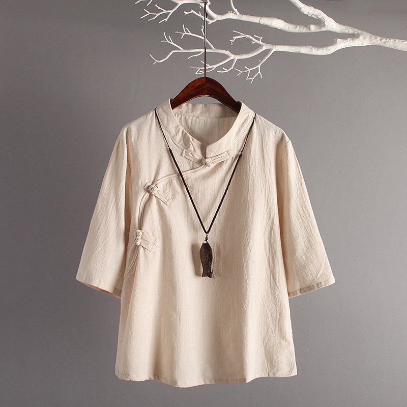 New Retro Art Cotton 3/4 Sleeves Loose Linen Tops Women Traditional Linen Shirt Chinese Style Clothing Women