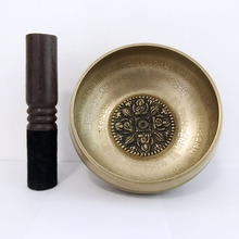 Nepal Handmade misa dźwiękowa zestaw 4 budda Mantra projekt tybetański miska do jogi śpiewanie medytacji tanie tanio CN (pochodzenie) Metal India Buddyzm Singing Bowl 12cm diameter About 550grams Bronze Vajra Mantra 4 budhha Chanting Yoga Meditation