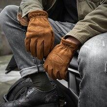 Gants de printemps en cuir véritable givré pour hommes, pour moto, doigt complet avec fourrure, Vintage, marron, cuir de vache, NR65