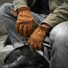 Men's Frosted Genuine Leather Gloves Men Motorcycle Riding Full Finger Spring Gloves With Fur Vintage Brown Cowhide Leather NR65