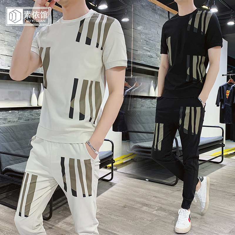 Suyiguan 2019 New Style Short Sleeve T-shirt Summer Sports Korean-style Slim Fit Leisure Suit Men's