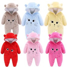 купить Baby Girls Clothes Newborn Winter Hoodie Baby Rompers Polyester Baby Boy Romper Climbing Outwear Infant Baby Jumpsuit 3M -12M по цене 446.15 рублей