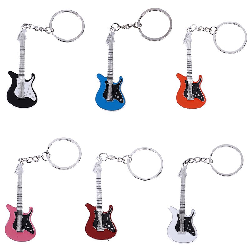 1PCS Mini Metal Classic Electric Guitar Keychain Key Car Chain Guitar Key Ring Musical Instruments Pendant For Man Women 6Colors image
