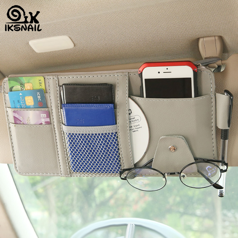 IKSNAIL Car Sun Visor Bill Pen Business Card Holder CD DVD Organizer Storage Box Sunglasses Clip Stowing Tidying Car Accessories