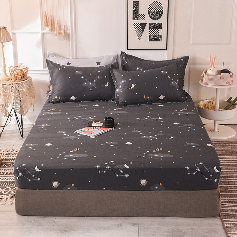 (New On Product) 1pcs 100% Cotton Printing bed mattress set with four corners and elastic band sheets(pillowcases need order) 1