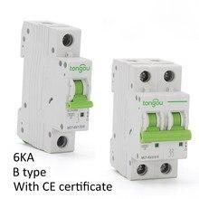 Curve B Type 1P 2P 1A 6A 10A 16A 20A 25A 32A 40A 50A 63A Miniature Circuit Breaker 6KA 110V/220V/400V 50/60HZ Type B MCB