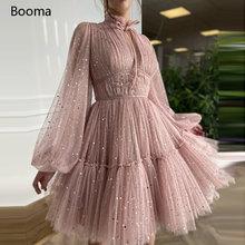 Booma розовый звездное Тюлевая мини Выпускные платья с высоким