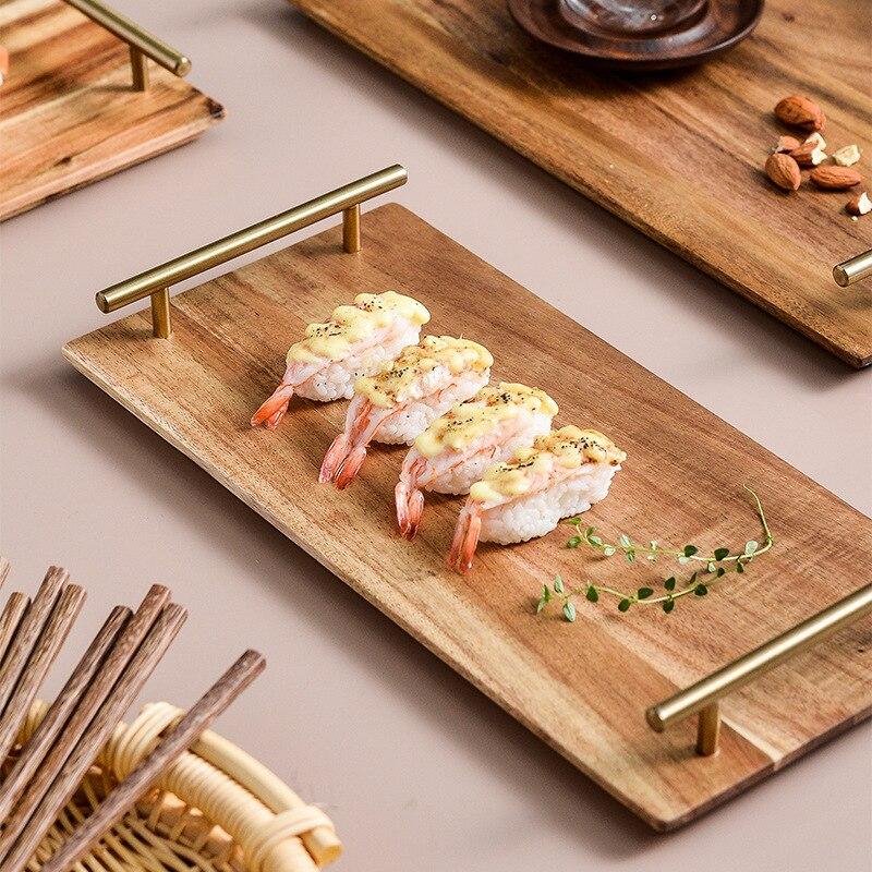 Plateau de rangement en bois assiette à sushi steak de pizza aux fruits plateau en bois assiette d'hôtel plats et assiettes ensembles