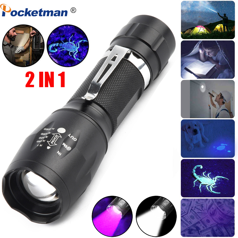 6000LM UV Flashlight Black Light 2 In 1 LED Flashlight For Camping Urine Detector For Cats,Pet Stains Scorpions